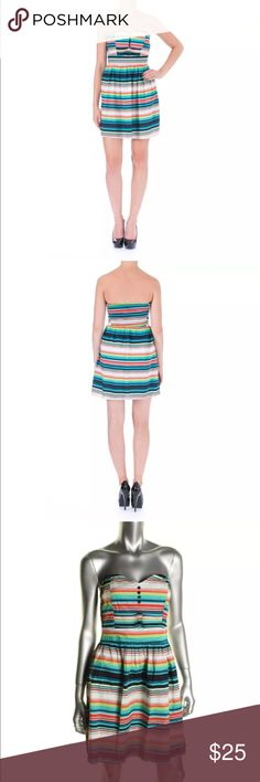 BeBop Multi Striped Strapless Mini Dress Jrs XL Be Bop Multi Striped Strapless Mini Casual Dress . Juniors XL and M . 97% Cotton 3% Spandex Above the knee Mini BeBop Dresses Mini