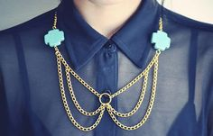 Peter Pan Collar Necklace Turquoise with Gold by francisfrank, $28.00