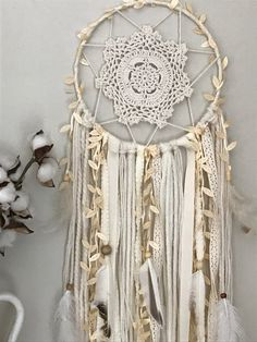 Ivory Dream Catcher Wall Hanging Boho Dreamcatcher Gifts for the Home Boho Gifts for Her Nursery Hanging Wall Boho Nursery Decor Doily Dream Catchers, Dream Catcher Boho, Giant Dream Catcher, Dream Catcher Wedding, Boho Nursery, Nursery Decor, Dream Catcher Tutorial, Wooden Beads, Doilies