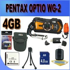 Pentax Optio WG-2 GPS Adventure Series 16 MP Waterproof Digital Camera with 5 X Optical Zoom (Orange) 4GB SD HC Card Battery and More Accessory Saver Bundle by Pentax. $406.19. This Kit Includes: 1- Pentax Optio WG-2 Adventure Series 16 MP Waterproof Digital Camera (Orange) Brand New USA w/ Supplied Manufacturer Accessories 1- 4GB SDHC Memory Card (Dont Miss a Memory!) 1- USB SDHC Memory Card Reader (Download Images Quicker!) 1- Lithium Ion Rechargeable Battery (Not ...