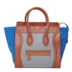 Celine Luggage Boston Tricolor Tan Grey Blue Smooth Leather And Suede Bag
