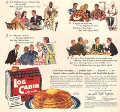 1940 Towle's Log Cabin Syrup print ad Flannel Cakes Hotcakes Flapjacks Griddle Cakes Pancakes