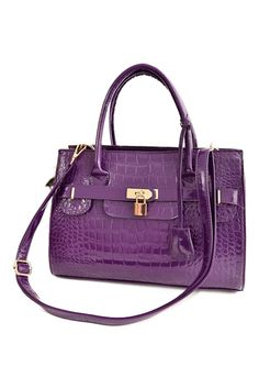 ROMWE | ROMWE Lock Embellished Purple Tote, The Latest Street Fashion
