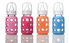 The anomaly back then, I switched to GLASS BABY BOTTLES in 2000 with my third child....just an instinct that something was not right with plastic.  Anyhow, back then your only option was glass bottles by Gerber (and they were hard to come by). Now, you have the cute option of Wee Go, which has a rubber exterior.