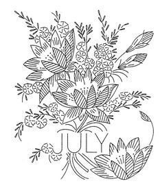 JULY Vintage Flower-of-the-Month Transfer (Larkspur or Water Lily)