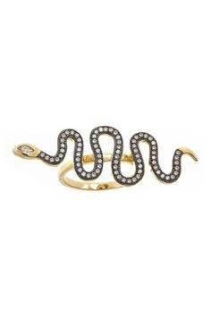 Pave CZ East-West Snake Ring