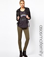 Maternity Exclusive Elgin Jeans With Stretch Waistband in Khaki