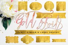 Gold Foil Ribbon & Label Shapes by Summit Avenue on Creative Market