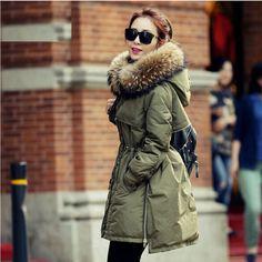 luxueux Femme Veste D'hiver manteau de duvet 100% fourrure VÉRITABLE col parka