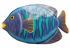 Handchiseled and Painted Tropical Metal Art Wall Decor Fish *** Read more at the image link. (This is an affiliate link and I receive a commission for the sales) Wood Fish, Metal Fish, Fish Sculpture, Wall Sculptures, Fish Wall Decor, Wall Art Decor, Ceramic Fish, Fish Patterns, Pallet Art