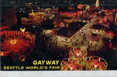 Postcard-SEATTLE-WORLDS-FAIR-1962-GAYWAY-night-overview-chrome-unused-r7