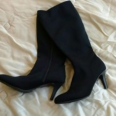Comfortable Stretch Boots! Lovingly worn stretch boots from Impo Stretch. These have a textile upper and a modest 3 inch heel! Super comfortable and classy! Very slight wear in soles. Excellent condition! Size 8.5M Impo Shoes Heeled Boots