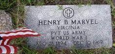 Henry B Marvell 1894 thru 1969 VA Pvt US Army World War I.