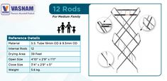 Foldable Vasnam Cloth Drying Stand (12 Rod) A must-have basic cloth drying stand for home of any size, this cloth drying stand is sturdy, rust resistant and collapsible. When not in use, quickly fold flat for compact storage inside the house or in the balcony. Cloth Drying Stand, Metal Shoe Rack, Aluminium Ladder, Balcony, Rust, Compact, Storage, Clothes, Purse Storage