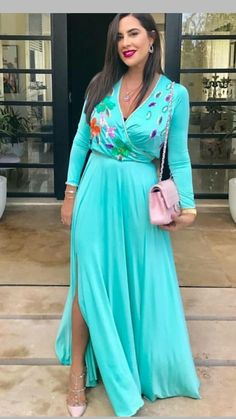 FloryDay / Elegant Floral V-Neckline Maxi X-line Dress Day Dresses, Cute Dresses, Hijab Fashion, Fashion Dresses, Long African Dresses, Afghan Dresses, Moroccan Caftan, Caftan Dress, Gowns Of Elegance