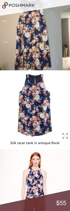 J.Crew Floral Tank J.Crew Silk Racer Tank in Antique Floral. Silk blouse with beautiful Floral pattern. Lined. Back keyhole with button closure. Beautiful work piece or can be paired casually with jeans. Excellent condition, barely worn. J. Crew Tops
