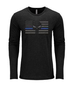 Punisher Thin Blue Line Long-Sleeve Soft Shirt by weloveshirts. Anna Green b47562135