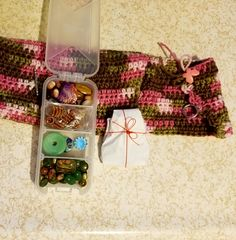 My partner, Jackie Marchant is so talented and so generous! Look at how my beads arrived - she actually crocheted a bag to hold everything, I opened the box to see this lovely package! Soup, Gift Wrapping, Beads, Party, Blog, Gift Wrapping Paper, Beading, Wrapping Gifts, Bead