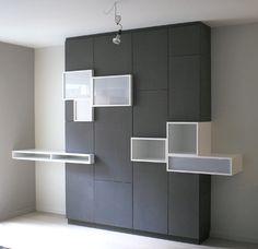 Cabinets and cubbies. Built In Furniture, Home Furniture, Furniture Design, Living Room Units, Moderne Pools, Interior Architecture, Interior Design, Wardrobe Design, Shelf Design