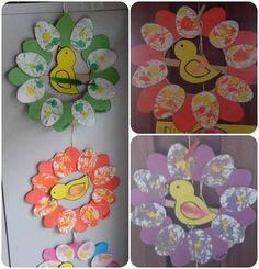 - lesptitsbricoleurss jimdo page! Egg Crafts, Easter Crafts For Kids, Diy And Crafts, Bird Template, Kids Workshop, Art N Craft, Classroom Crafts, Spring Crafts, Paper Flowers