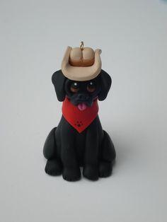 Polymer clay Black Lab Labrador Retriever dog fgure Christmas ornament. $12.50, via Etsy.