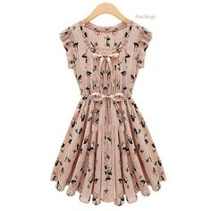Square Collar Floral Print Pleated Pink Dress ($31) ❤ liked on Polyvore