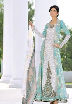 Mehndi - blue and white - pakistani summer fashion Pakistani Couture, Pakistani Outfits, Indian Outfits, Asian Fashion, Hijab Fashion, Style Caftan, Desi Wear, Pakistan Fashion, Desi Clothes