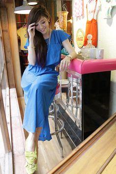Maxi Dress In Blue Color, Mocassin In Neon Green