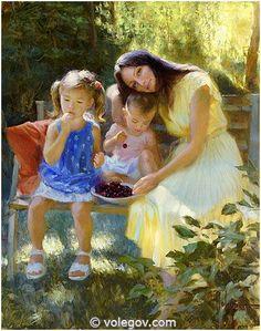 "Vladimir Volegov ""Polina with her daughters"", 92x73 cm, oil on canvas   #volegov #art #oil #canvas"