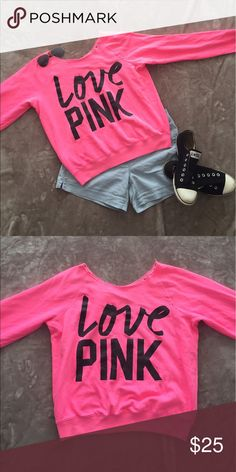 VICTORIA SECRET PINK Neon Cut-off Sweatshirt VICTORIA SECRET PINK Neon Pink Cut-off Sweatshirt in Size M. Off the shoulder semi-thin sweatshirt in good condition. Perfect for a cool beach day or a summer night! Super cute on! PINK Victoria's Secret Tops Sweatshirts & Hoodies