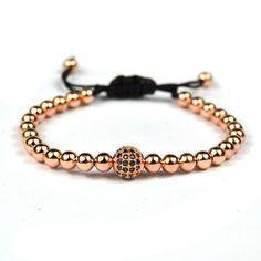 Mens bracelets anil arjandas  2016 Micro Pave Black zirconia Beads 8mm Briading Macrame Bracelet woman Jewelry