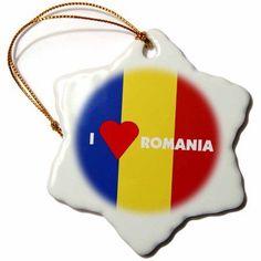 3dRose I Love Romania, Snowflake Ornament, Porcelain, 3-inch
