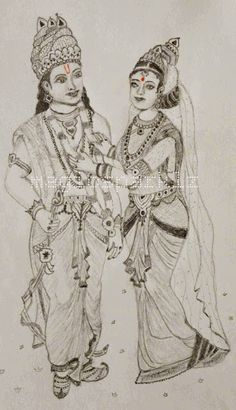 My pencil sketching of Lord Rama and Sita's marraige