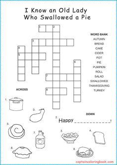 Thanksgiving Crossword Puzzle for kids