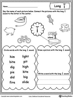 *FREE* Long I Sound Worksheet: Practice recognizing the long vowel I sound with this printable worksheet.