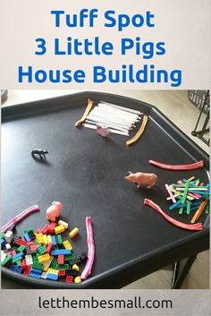 Three little pigs house building tuff spot is a great activity for fine motor sk. - Three little pigs house building tuff spot is a great activity for fine motor skills, STEM, enginee - Tuff Spot, Eyfs Activities, Preschool Activities, 3 Little Pigs Activities, Stem Preschool, Nursery Rhyme Activities, Three Little Pigs Houses, Traditional Tales, Small World Play