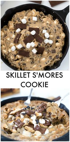This skillet smores cookie starts with Krusteaz chocolate chunk cookie mix and topped with graham crackers and marshmallows. A campfire delight at home.