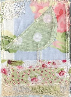 Pretty fabric strips and spotted bird