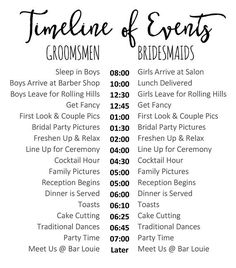 The minute wedding guest list shesaid bridal pinterest editable wedding timeline edit in word cute wedding day schedule for bridal party and family t junglespirit Images