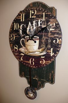 18 in. Coffee Theme Pendulum Clock for your Mother for Mother`s day, excellent gift!!