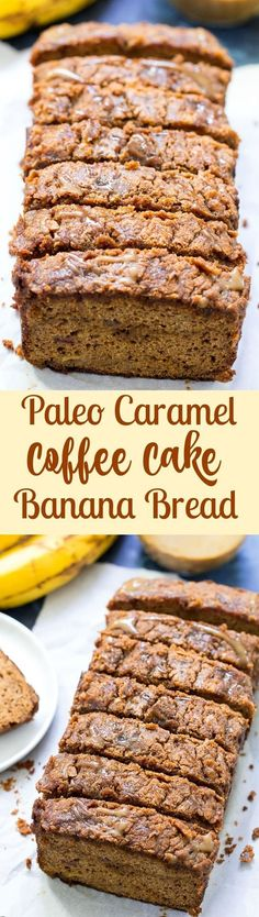 This paleo banana bread is swirled and drizzled with dairy-free caramel and topped with a thick layer of cinnamon crumb. Gluten free, dairy free, paleo, kid friendly and nut free!