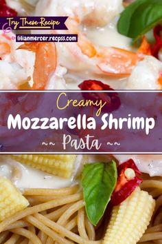 Creamy Mozzarella Shrimp Pasta. If you love creamy Mozzarella Shrimp but hate the hassle of cooking the shrimp, this is for you. #FishRecipes #ChickenRecipes #SeafoodPastaRecipes #RecipesWithShrimp #ShrimpDinnerRecipes #CreamyPastaRecipes #SaladRecipes #ShrimpMeals #FrozenShrimpRecipes Best Easy Dinner Recipes, Cooking Recipes For Dinner, Shrimp Recipes For Dinner, Easy Delicious Recipes, Top Recipes, Amazing Recipes, Easy Recipes, Whole Food Recipes, Easy Meals