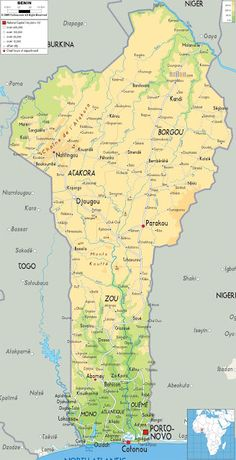 Republic of Benin Map - Physical Map of Benin African Countries Map, Dahomey Amazons, French West Africa, Afrique Art, Country Maps, The Beautiful Country, Like A Local, African Animals, African American History
