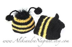 BUMBLE BEE -  Photo Prop  - Baby Hat and Diaper Cover - acrylic  - Made To Order$39