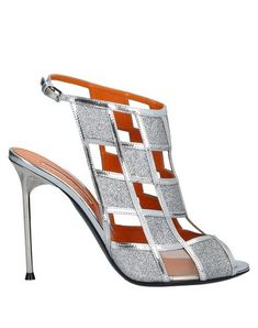 Silver Outfits, Textiles, Spike Heels, Heeled Mules, Products, Calf Leather, Silver Color, Glitter, Sandals