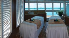 Table For Two? On the new Royal Princess, The Sanctuary features two Lotus Spa Cabanas, with living areas and couples' treatment rooms. Treatment Rooms, Spa Treatments, Boat Fashion, Love Boat, Princess Cruises, Royal Princess, Cruise Ships, Cruise Vacation, Lighthouses