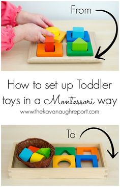 Montessori Toddler Trays -- How Do You Set Up Toddler Toys in a Montessori Way? Here are some tips to setting up toys and materials in your home to entice toddlers to use and explore them.