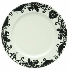 Charge it by Jay Black Brocade Charger Plate with White Center by Jay Imports. $10.50. Color: White with black brocade. Material: polypropylene. Hand wash in warm water; not for use in dishwasher, or microwave oven. Dimensions: 13-inch in diameter by 1-inch high. Enjoy these brocade charger plates from Charge It by Jay. These are made of polypropylene. Hand wash in warm water. Not for use in dishwasher, or microwave oven.