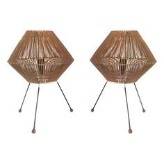 Pair of 1960's Rattan Table Lamps