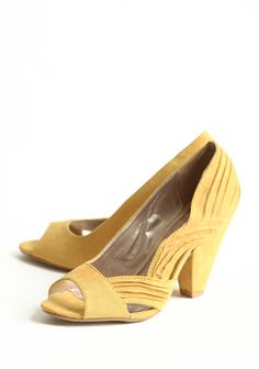 Modern Elegance Peep Toe Pumps In Mustard 42.99 at shopruche.com. These wonderfully soft,